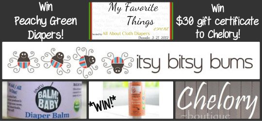 Win Peachy Green Diapers, Chelory and Balm!