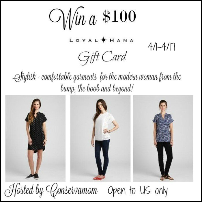Win a $100 Loyal Hana Gift Card. Nursing clothing that is stylish, comfortable & functional