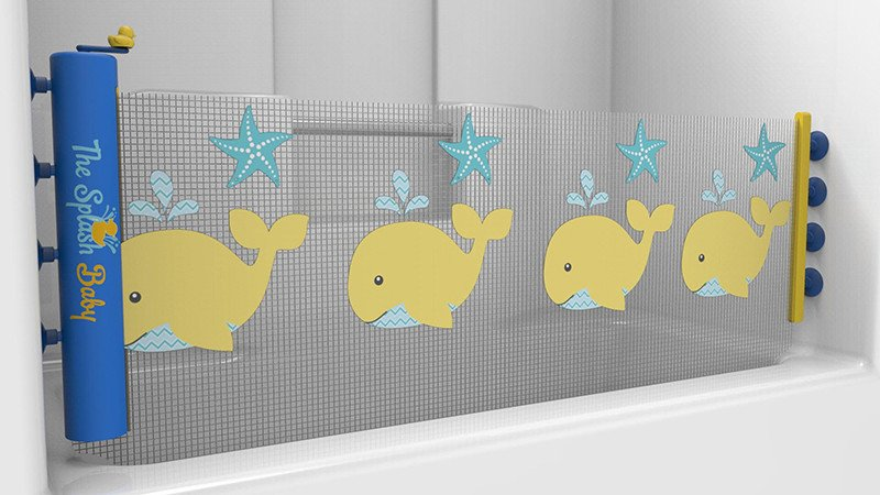 ... Splash Guard That Keeps The Water, Bubbles, And Toys In The Bathtub  Where They Belong. The New Retractable Version Has A Built In Squeegee To  Prevent ...