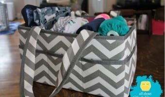 No changing table nearby? No problem if you have this Cloth Diaper Caddy!